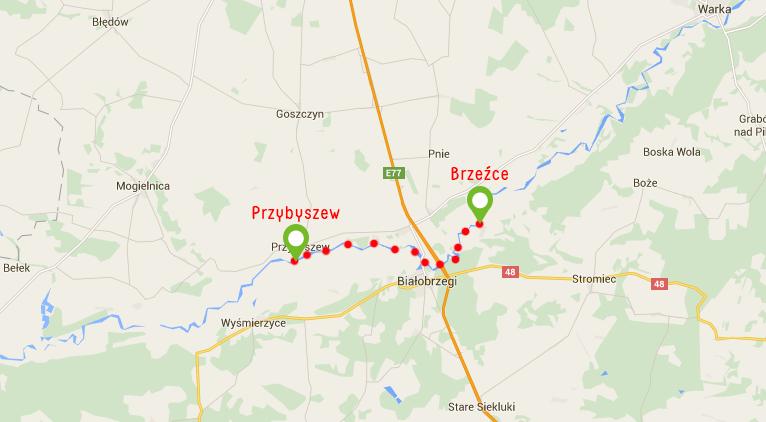 Spływ kajakowy Przybyszew-Brzeźce