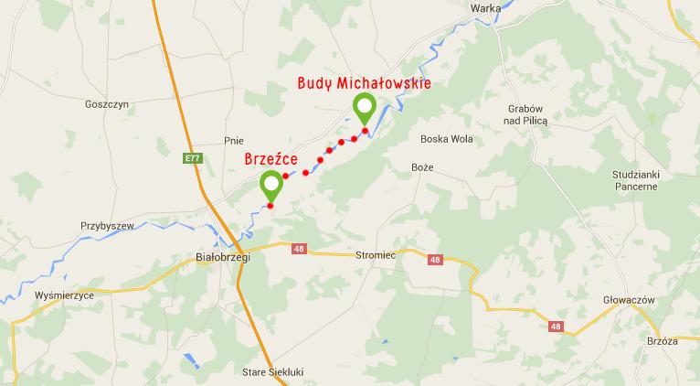 Spływ kajakowy Brzeźce-Budy Michałowskie